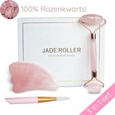 Jade Roller Gezichtsroller Massageroller voor Gezichtsverzorging Cadeau- Gua Sha Schraper - Rozenkwarts - Inclusief Masker Kwast - Geschenkset Vrouwen