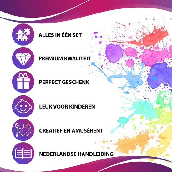 YUNICS® Tie Dye Kit - M - 5 kleuren -120ML - Tie Dye Set - Tie Dye Verf - Textielverf - Complete Set - Inclusief Elastieken & Handschoenen - Inclusief Nederlandstalige Handleiding - Rood, Violet, Geel, Groen En Blauw