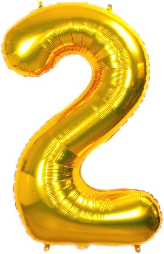 Folie Ballon Cijfer 2 Jaar Goud 36Cm Verjaardag Folieballon Met Rietje