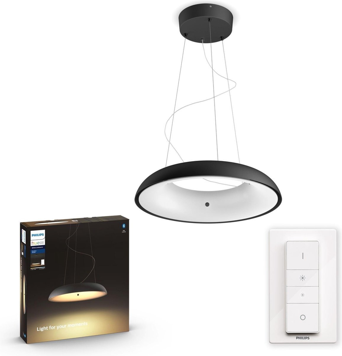 Philips Hue - Amaze Hue Pendant Black - White Ambiance - Bluetooth - Dimmer Included