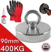 Vismagneet - 400 kg trekkracht- Magneetvissen - Incl. Handschoenen - Prikstok Adapter - Schroefdraadborgmiddel (10 ml)