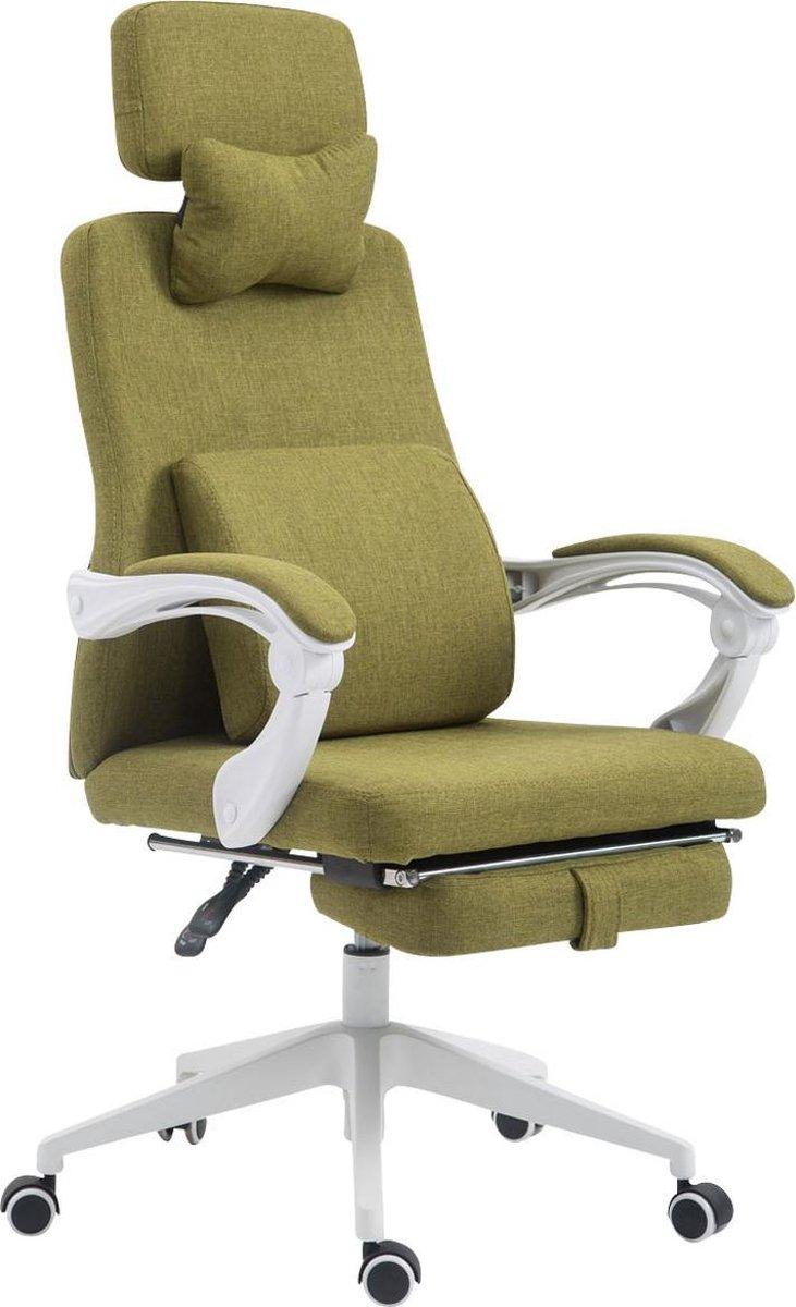 Bureaustoel - Bureaustoelen voor volwassenen - Hoofdkussen - Voetensteun - Verstelbaar - Stof - Groen - 62x63x137 cm