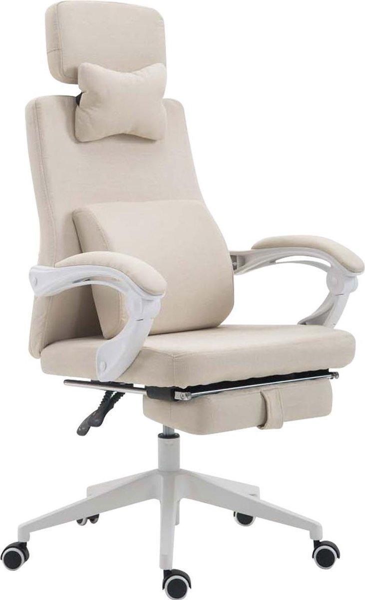 Bureaustoel - Bureaustoelen voor volwassenen - Hoofdkussen - Voetensteun - Verstelbaar - Stof - Crème - 62x63x137 cm