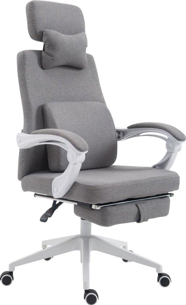 Bureaustoel - Bureaustoelen voor volwassenen - Hoofdkussen - Voetensteun - Verstelbaar - Stof - Grijs - 62x63x137 cm