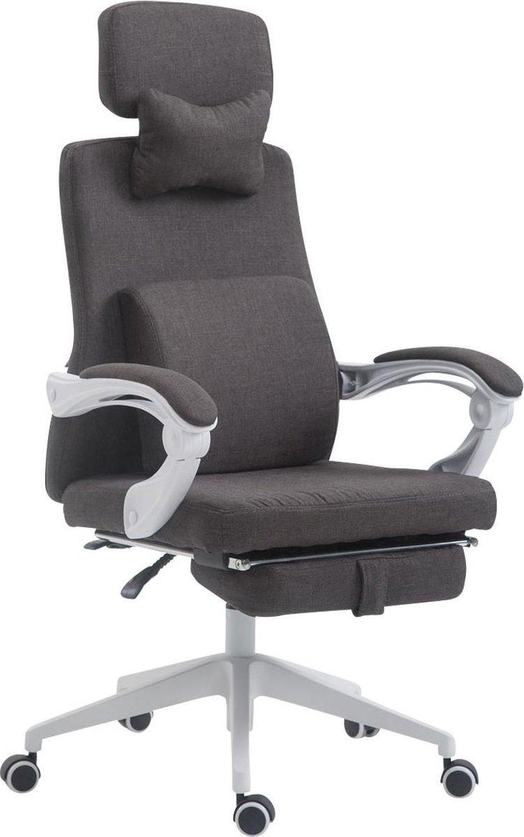Bureaustoel - Bureaustoelen voor volwassenen - Hoofdkussen - Voetensteun - Verstelbaar - Stof - Donkergrijs - 62x63x137 cm