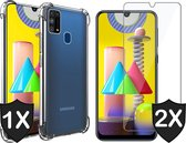 Samsung M31 Hoesje en 2x Samsung M31 Screenprotector - Samsung Galaxy M31 Hoesje Transparant Shock Proof Case + 2x Screen Protector Glas