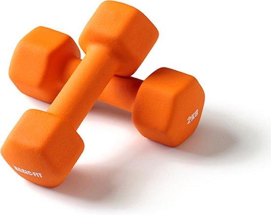 Basic-Fit Dumbbells - 2 x 2 kg Set - Rubber - Oranje