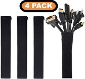 Kabel Organiser  Set 4X - Kabelgoot - Kabel Management - Kabelhouder - voor Bureau en TV - Kabelbeschermer - Kabelbrug - Kabelbinders - Zwart
