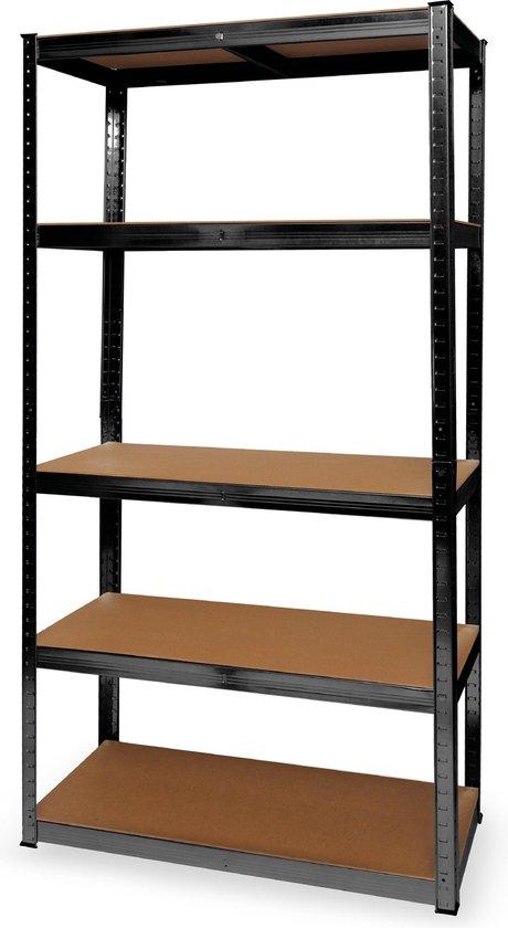 Stellingkast - 5 Legplanken - 175kg per Plank - 90x40x180 cm - Metaal / MDF - Zwart