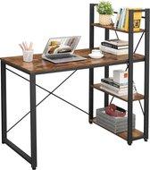 MIRA Home - Bureau - Computertafel met planken - Thuiskantoor - Industrieel - Vintage - Bruin/zwart - 60x120x76/120