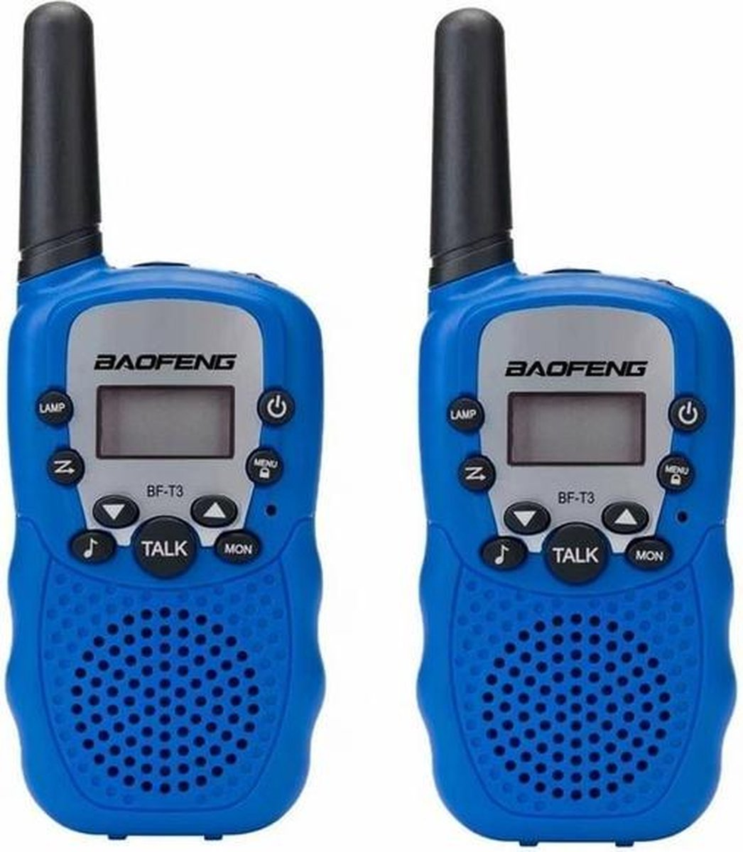 Set van 2 blauwe kinder walkie talkies (incl. 8 batterijen)