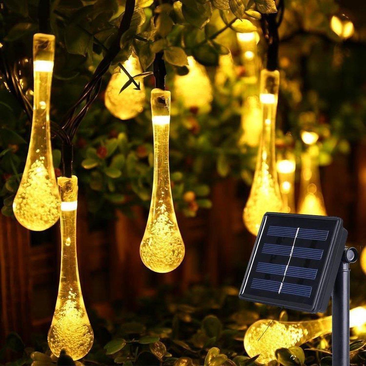 J-Pro Sfeer- en Tuinverlichting op Zonne-Energie - 50 Solar LED Druppels - 7m - Lichtsnoer - Lichtsl