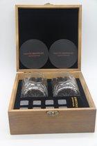 Whiskey Cadeau Set - Whiskeystones Geschenkset - Whisky - 2 Glazen - 2 Onderzetters