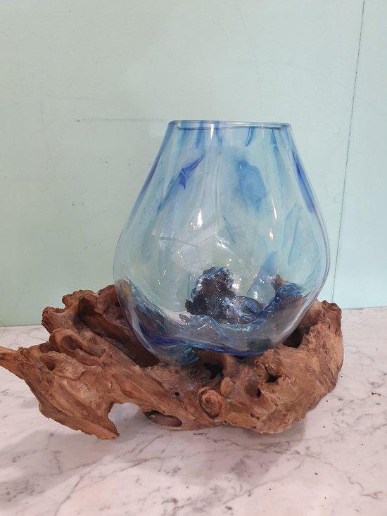 Glas op Hout/Stronk Blauw Medium, Viskom