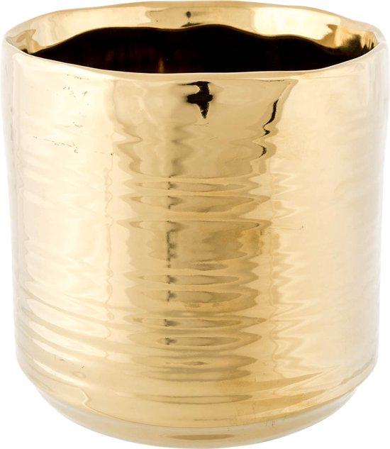 1x Gouden ronde potjes voor kerststukjes Cerchio 13 cm keramiek - Kerststukjes onderdelen pot metallic goud - Woonaccessoires