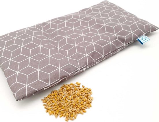 Pittenzak Met Pit! – Hoes is wasbaar – Veilige kruik - Zacht/geurloos tarwe - Made in NL – Magnetron èn vriezer -Donker grijs grafisch