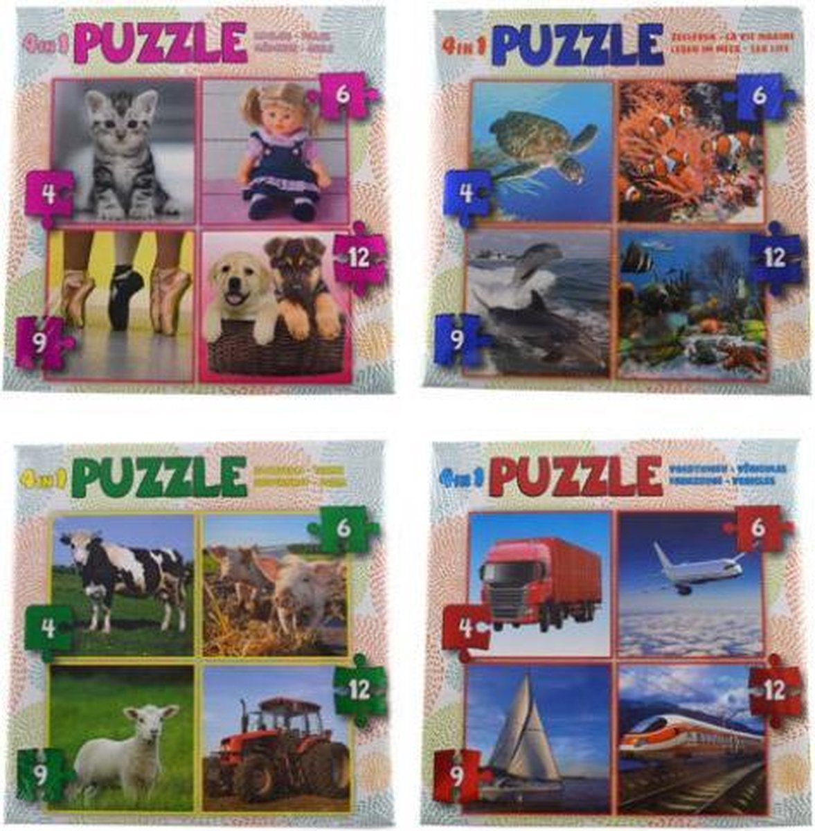 Set van 4 puzzel en elke puzzel is 4in1