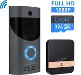 Looki® X6 draadloze video deurbel inclusief gratis 32GB SD-kaart – incl. batterijen en ontvanger – Full HD - Bewegingsdetectie en Two-way Audio - WiFi beveiligingscamera - Offline ring functie - Zwart