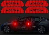 Auto Reflecterende deur Sticker set van 4 ,Waarschuwing Tape, Reflecterende Strips, Veiligheid Mark - rood