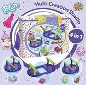 Totum Multi Creation Studio - hobbyset voor 4 activiteiten : kralenarmbandjes, weven, pompoms en tassels maken
