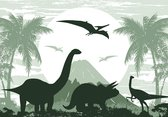Posterbehang Dinosaurus XXL - Triceratops - 368 x 254 cm - groen