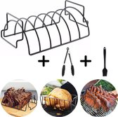 Spareribs rek - incl. Gratis BBQ Tang & Kwast - 2in1 Rib Rack & Grill - Ovenrooster - BBQ Accesoires Set