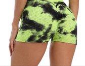 Sport shorts -Olamee-Absorberend-Tie Dye-Zwart Groen-Shorts Fitness-Sexy Zomer Short-Scrunch Butt-High Waist-Anti Cellulite-Gym Sports Wear-Mooie Billen-Push Up-Compressie shorts-XL