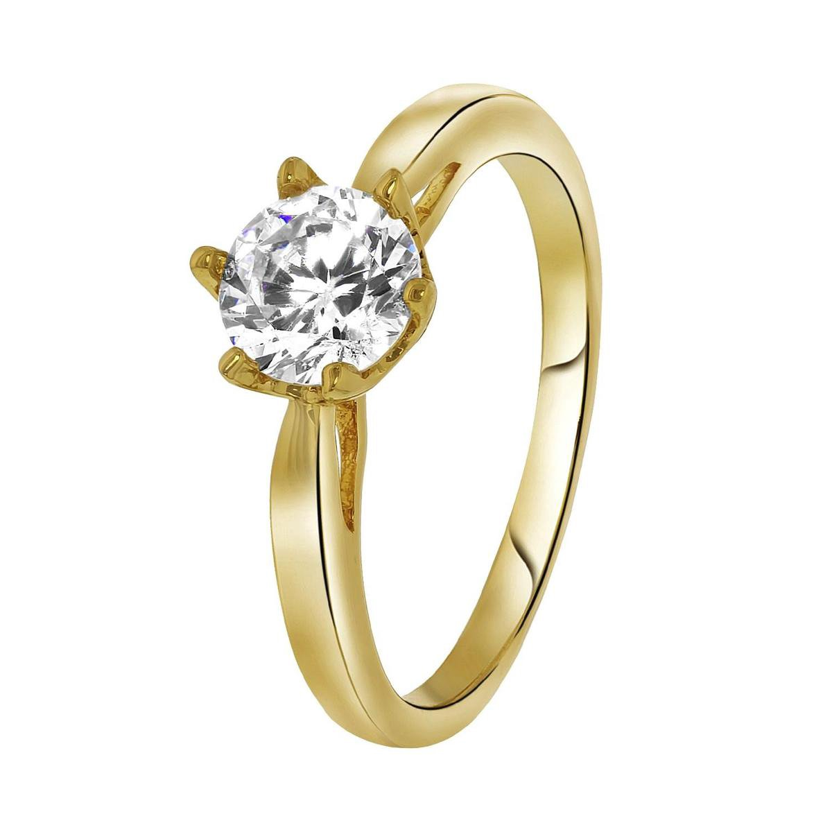 Lucardi goldplated ring solitair - zirkonia - Lucardi