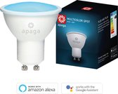 Apaga Smart Spot - Slimme LED Lamp - Gekleurde spotjes (White + Color RGB lamp) - Werkt met Google Home en Amazon Alexa - Warm tot koud LED lights – Dimbaar (LED verlichting, E27, 5W, WiFi)