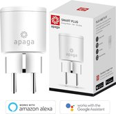 Apaga Smart Plug - Slimme Stekkers – Energiemeter - Werkt met Amazon Alexa en Google Home - Bestuur stekker via de app (Android of iOS) of via Voice Command – Nederlandse Handleiding – 2.4 GHz WIFI Stekker – WIFI Plug - (16A, WiFi)