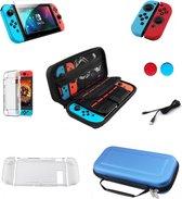 Complete Set Nintendo Switch Accessoires voor Console & Controller – Case - Joy Con - Screenprotector - Beschermhoes – Blauwe Case