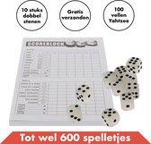Yahtzee set met Dobbelstenen en Scoreblok – Gezelschapsspel voor volwassenen en kinderen – Speel tot 600 dobbelspellen
