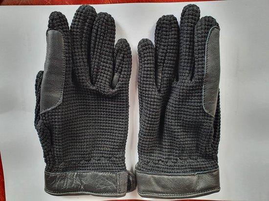Handschoen katoen met leder zwart