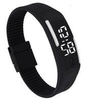 LED Horloge -  Tieners - Horloge - Rubber - 20 mm – Zwart/ Wit – geschikt vanaf 12 jaar - I-deLuxe verpakking