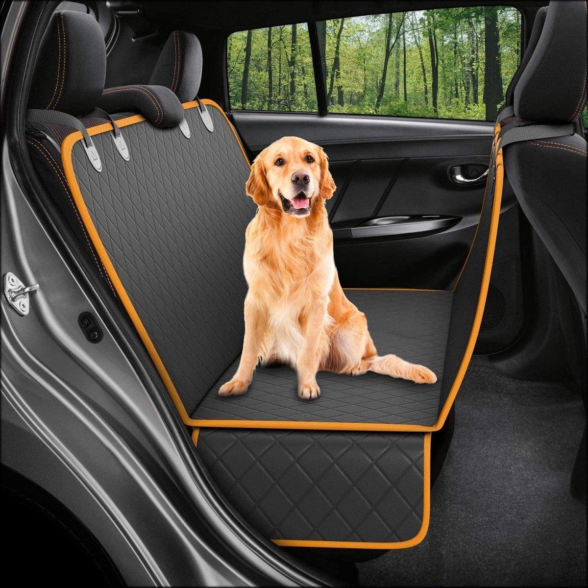 Premium Hondendeken auto achterbank/kofferbak - Inclusief gratis E-Book - Hondenmand auto - Zwart/Or