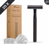 Bamboozy Safety Razor + 20 scheermesjes Matte Black voor vrouwen dames mannen Double Edge Single Blade Zero Waste Duurzaam Scheren