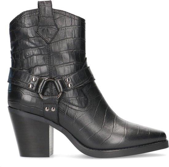 Sacha - Dames - Zwarte leren cowboylaarsjes met crocoprint - Maat 38