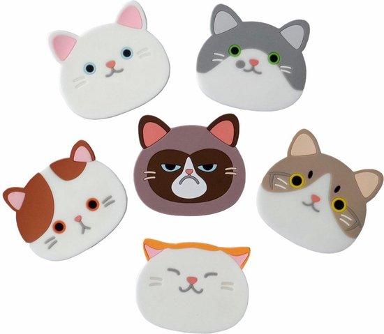 Fako Bijoux® - Katten Onderzetters - Onderzetters Voor Glazen - Katten Accessoires - Katten Decoraties - Set Van Zes Onderzetters - Hittebestendig - Antislip - Kattenliefhebber