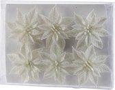 6x Kerstboomversiering witte glitter bloemen op clip - kerstboom decoratie - wit kerstversieringen