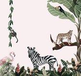 Fotobehang Jungle Dieren Roze - Vinyl behang met linnenlook - 280 x 265 cm - Posterguru