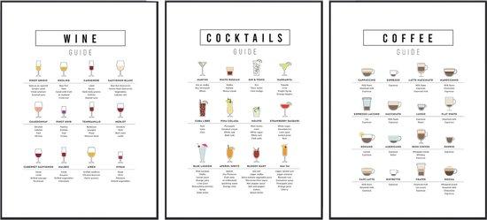 Keuken decoratie - Keuken posters - 3 stuks - 21x30 cm -  Koffie, wijn & cocktail guide