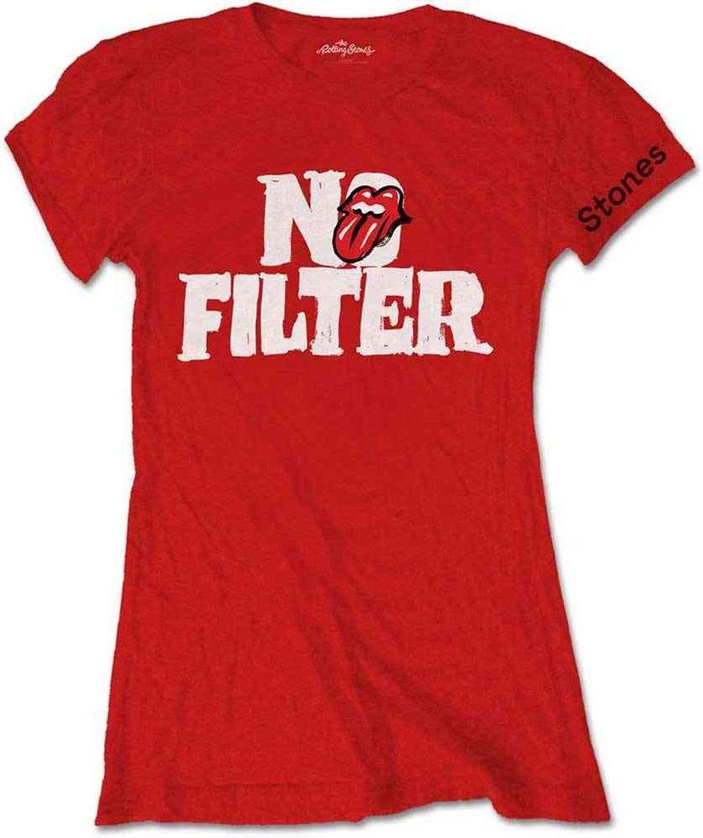 Rolling Stones Dames Tshirt -L- No Filter Header Logo Rood