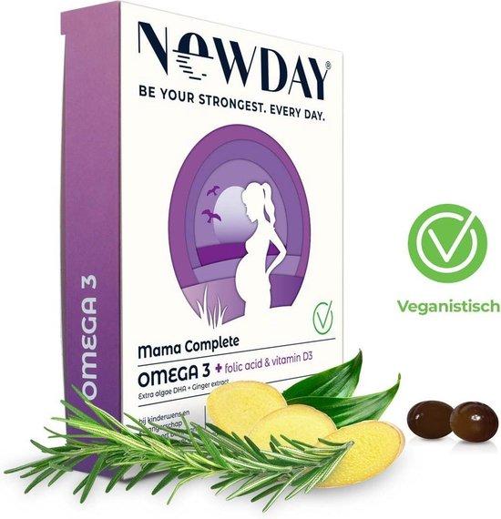 NewDay Mama Complete • Omega-3 • Foliumzuur • Vitamine D • Zwangerschap • Vegetarisch  • Algenolie  • 450 mg omega-3 • DHA