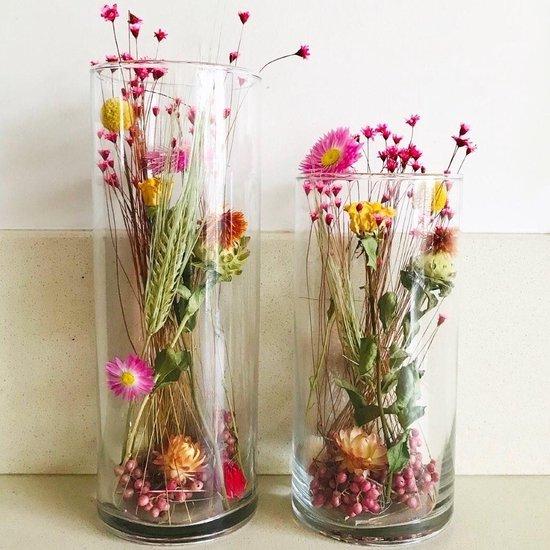 Set droogbloemen in glazen pot Droomvlucht cilindervaas