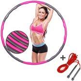 Fitness Hoelahoep - Fitness Hoepel - Hula Hoop - Inclusief Gratis Springtouw - 1.5KG - Ø 100 cm -Roze en/of Grijs