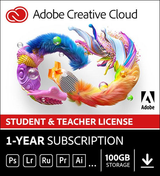 Adobe Creative Cloud Student & Docent - 1 Apparaat - 1 Jaar - Nederlands - Windows / Mac Download - Adobe