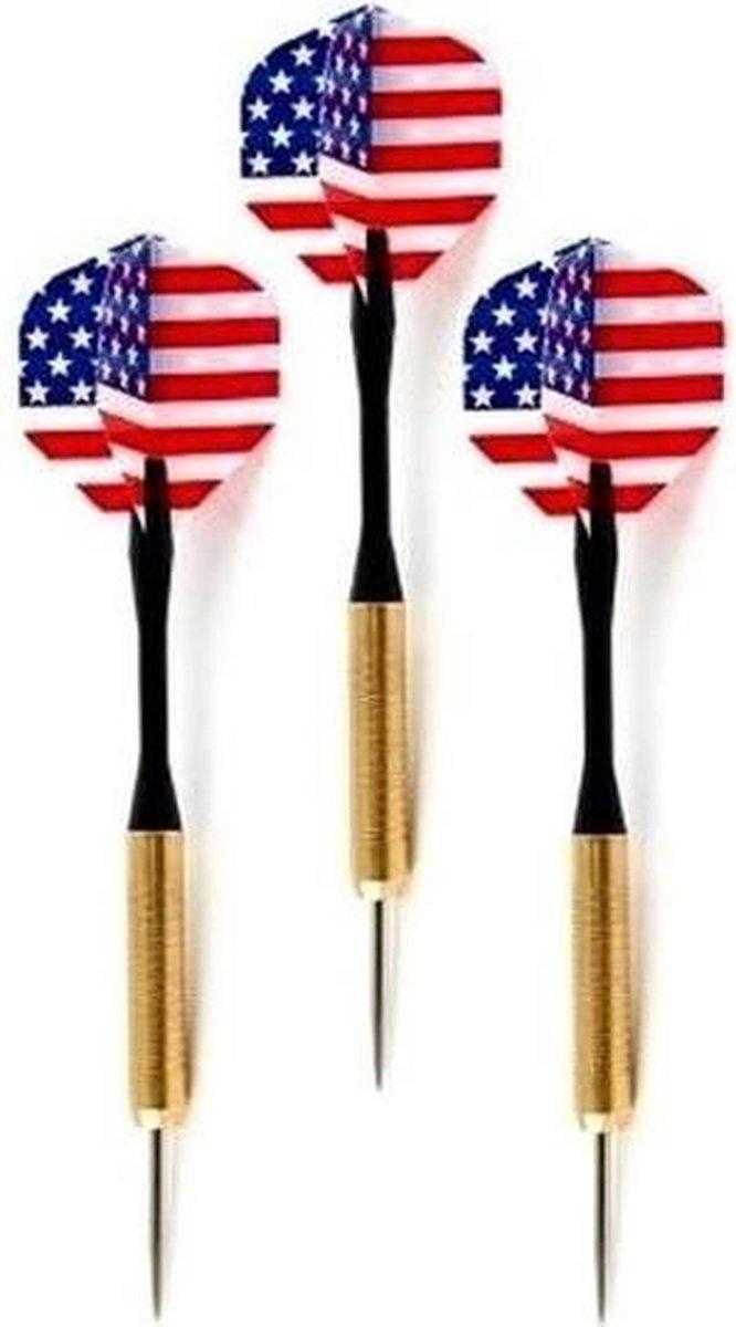 Dartpijlen set van 9x stuks met Amerikaanse/USA vlag flights - Darts sportartikelen
