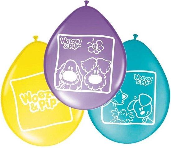 16x stuks Woezel en Pip thema kinder verjaardag feest ballonnen 27 cm - Versieringen/Feestartikelen