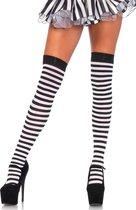 Zwart/wit gestreepte verkleed kousen voor dames - One size-  Themafeest - Black and white party - Sexy boeven sokken
