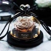 Onsterfelijke Roos in Glas – Brons - Moederdag – Valentijn Cadeautje – Huwelijk – Roos in Glas – Decoratief